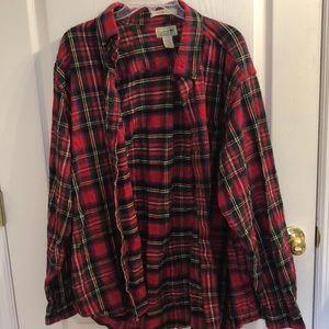 💚L.L. Bean Red Plaid Flannel Shirt